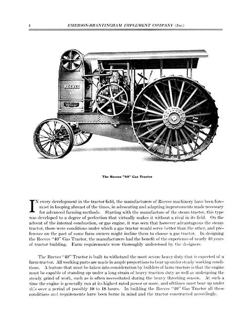 THE REEVES 40 GAS TRACTOR E-BOOK