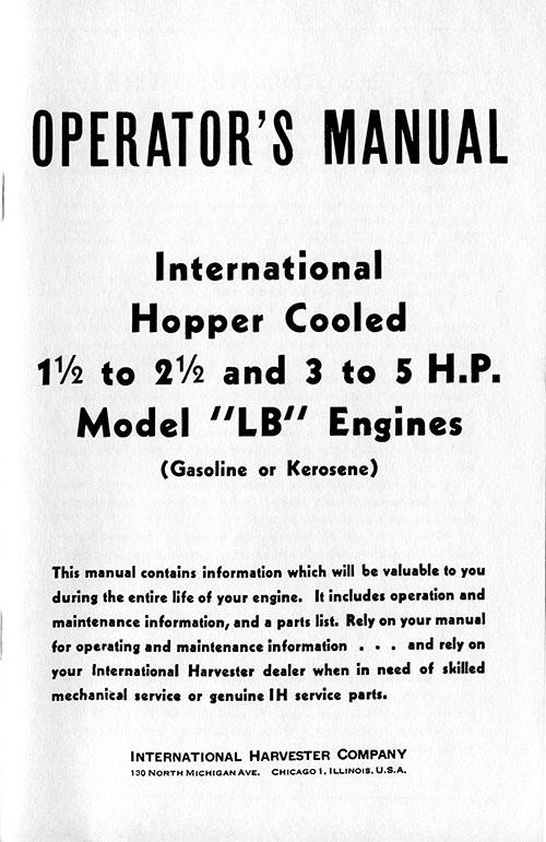 E-BOOK, INTERNATIONAL HOPPER COOLED MODEL LB ENGINES