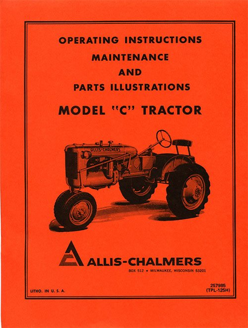 OPERATING MAINTENANCE & PARTS ILLUS. MODEL C TRACTOR E-BOOK